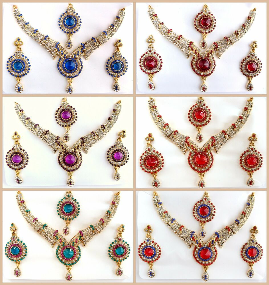 Bollywood statement gold necklace earring set indian for Drop shipping jewelry business