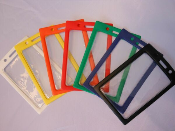 ID Badge Holder Vinyl Case Clear with Color Border and Lanyard Holes, Vertical