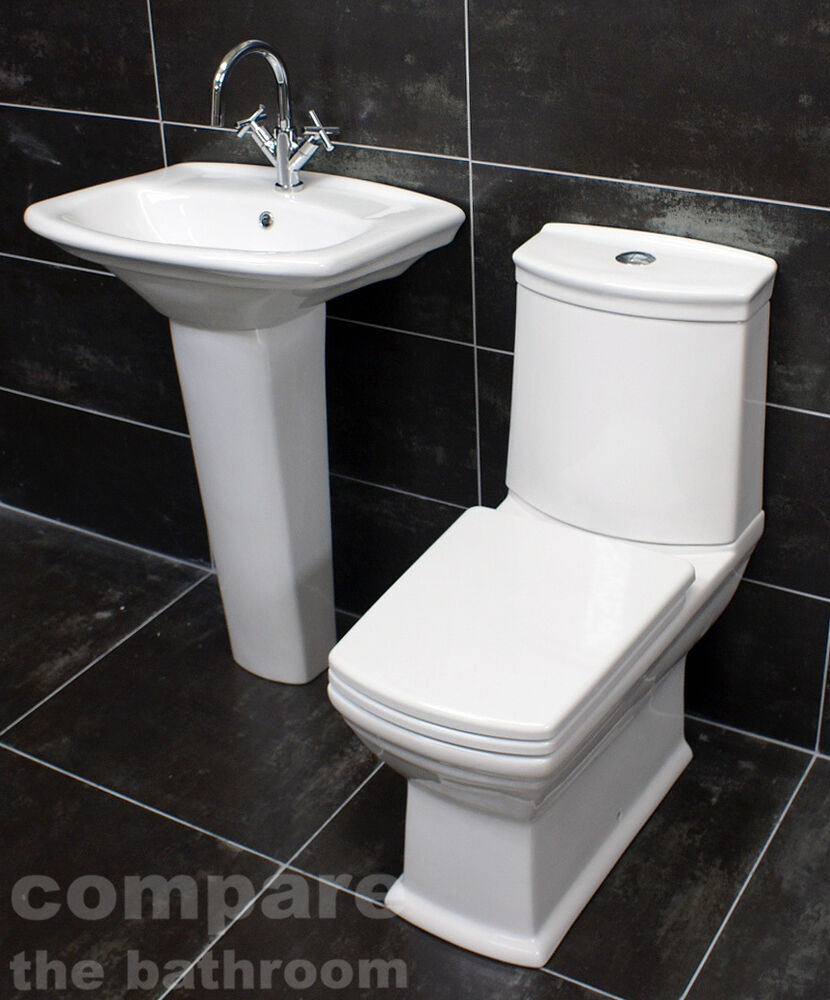 Diana art deco style bathroom suite basin sink toilet wc set soft close seat ebay - Deco toilet wc ...