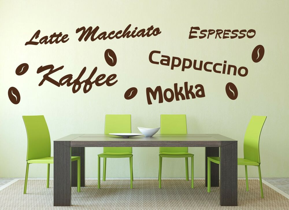 wandtattoo aufkleber wandaufkleber k che kaffee sticker espresso latte mokka neu ebay. Black Bedroom Furniture Sets. Home Design Ideas