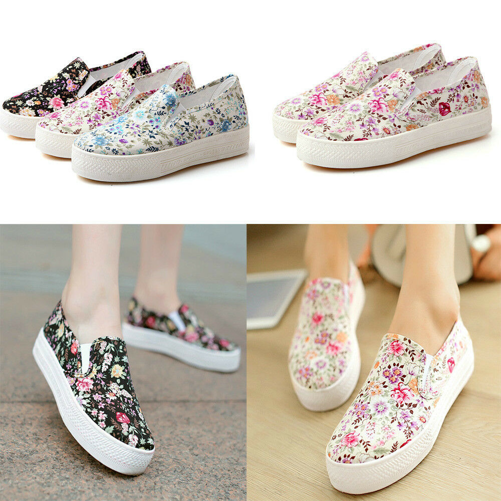 s floral flowers print canvas shoes pull on platform