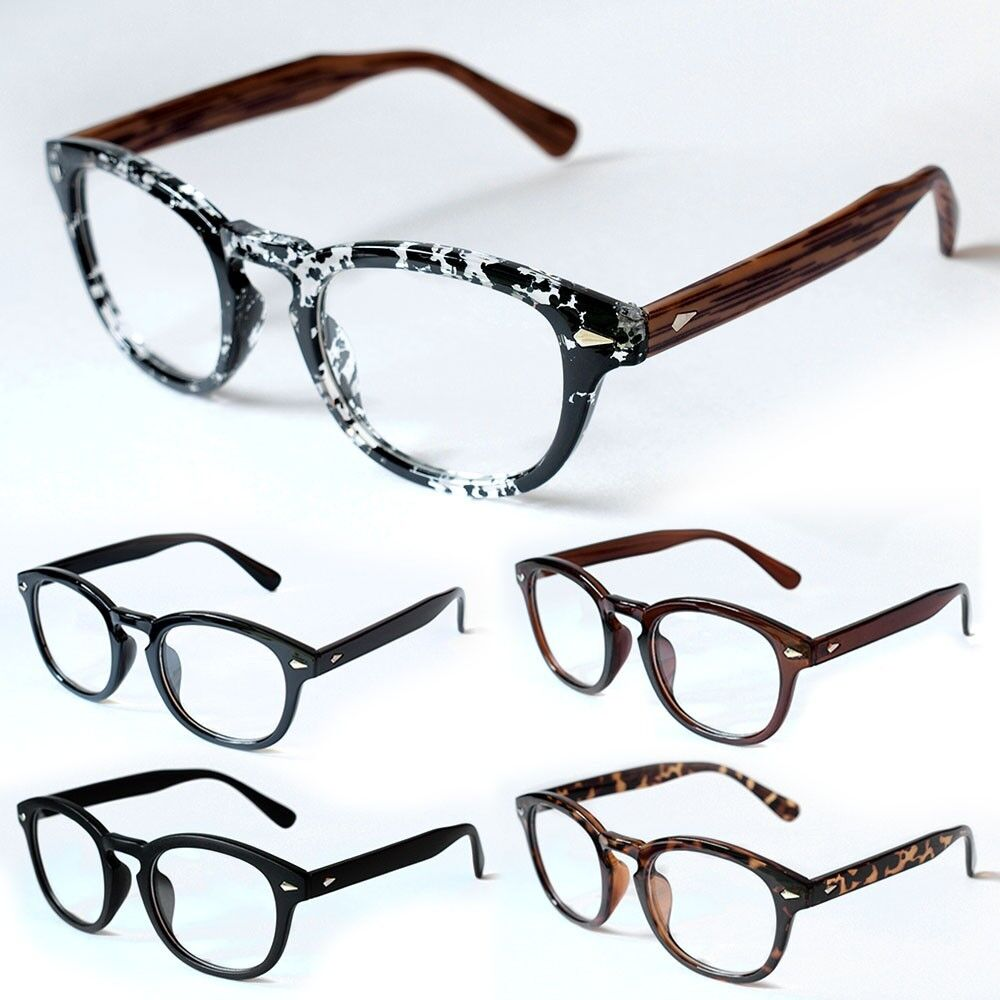 VINTAGE Glasses Black Classic Frame Johnny Depp Round ...