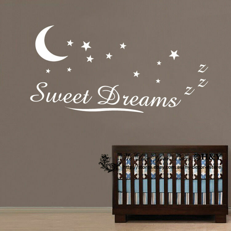 Sweet Dreams Wall Stickers Wall Quotes Kids Baby Nursery