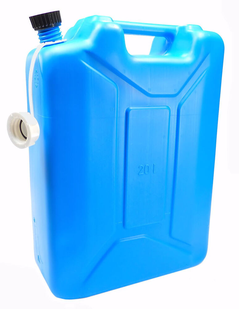 new plastic 20 liter 5 gallon jerry can water can with spout blue ebay