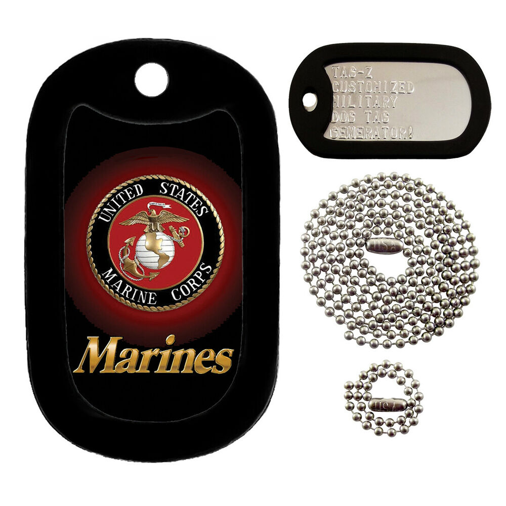 Military Dog Tags - Custom Embossed Tag Set - U.S. Marines ...