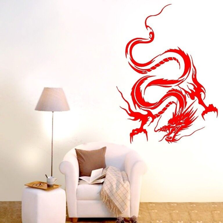 Vinyl Wall Decal Mural Home Art Diy Decor Sticker ~ One dragon abstract wall decor removable home vinyl decal