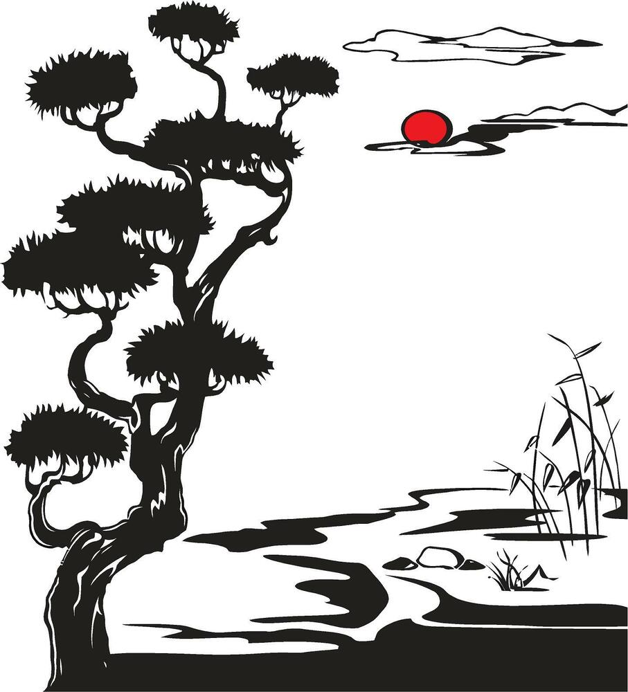 Oriental Sakura Tree With Sunset Vinyl Wall Decal Ebay