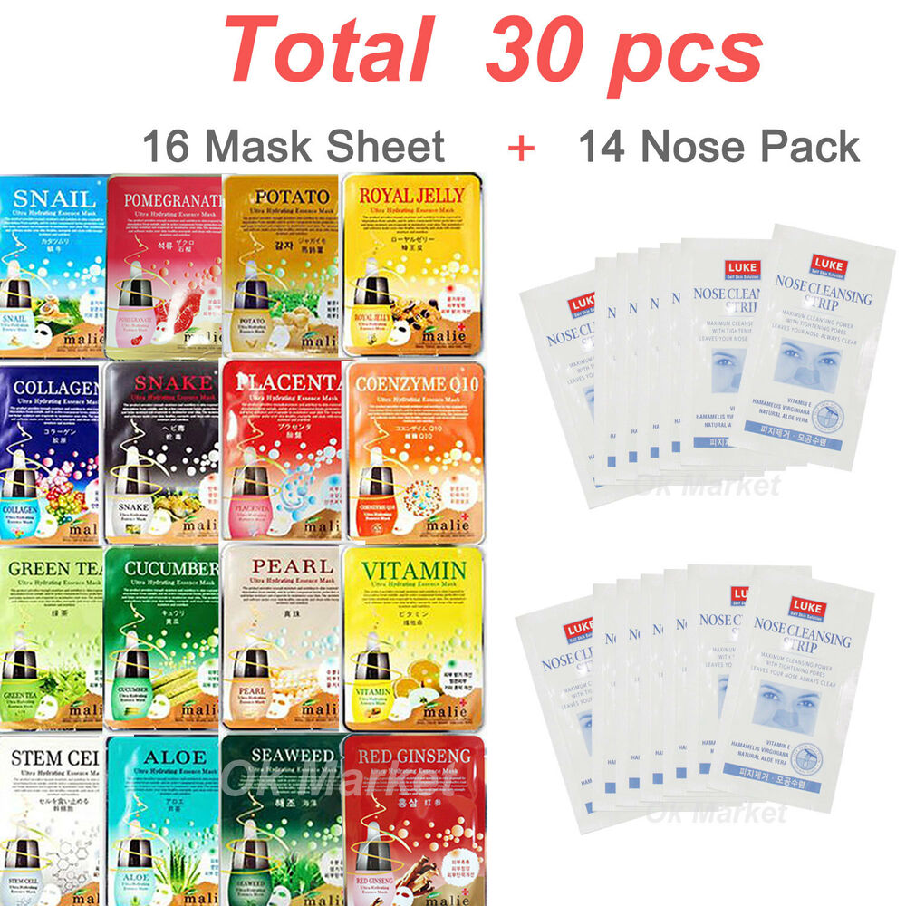 30 Pcs Face Mask Sheet Nose Pack Facial Skin Care Moisture Essence Nature Republic Greentea Bundling 3pcs Korea Malie 8809478329222 Ebay