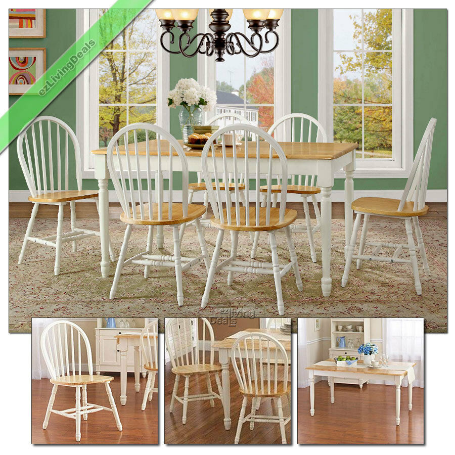 7 pc farmhouse dining room sets table chairs wood windsor for Farmhouse dining room table set