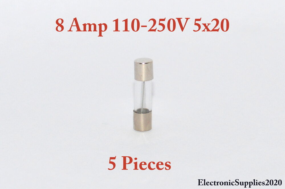 5 Fast Blow Glass Fuses 8a 8 Amps 110 250v 5x20 Usa Fast