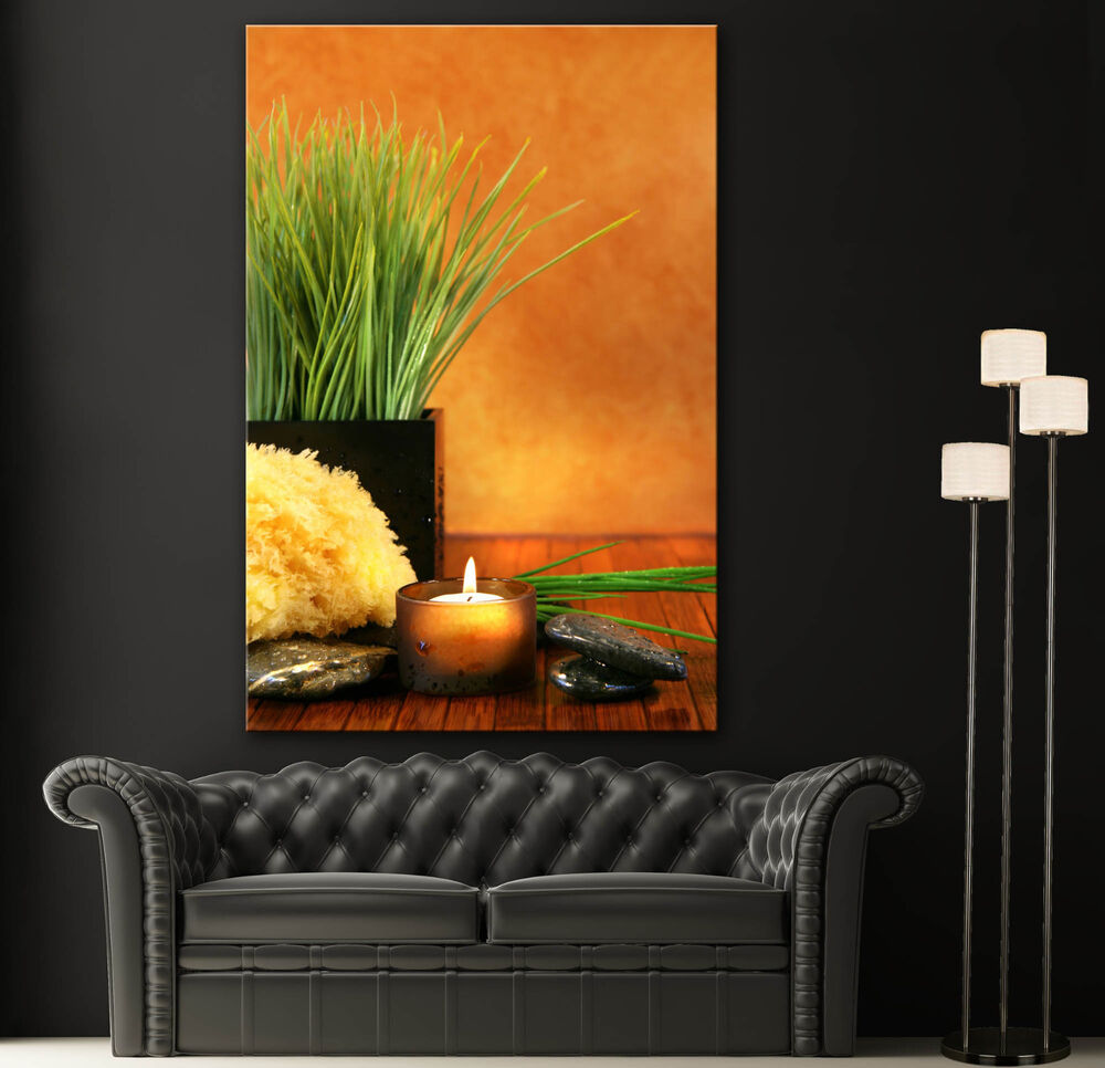Wall art canvas giclee print spa candles zen colorful for Spa wall decor