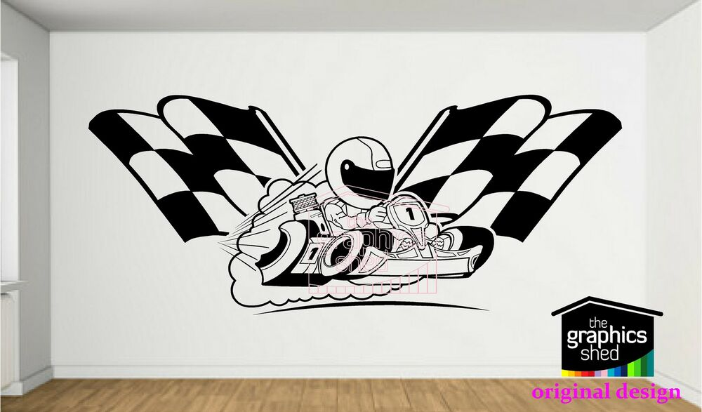 Go Kart Wall Sticker Karting Decal Boys Design Vinyl Ebay