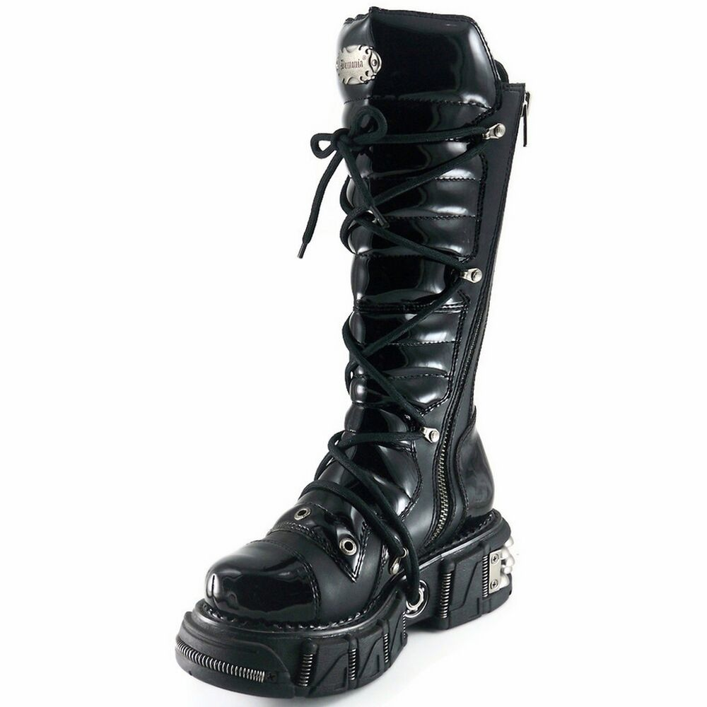 demonia cyber combat platform boots mens knee high