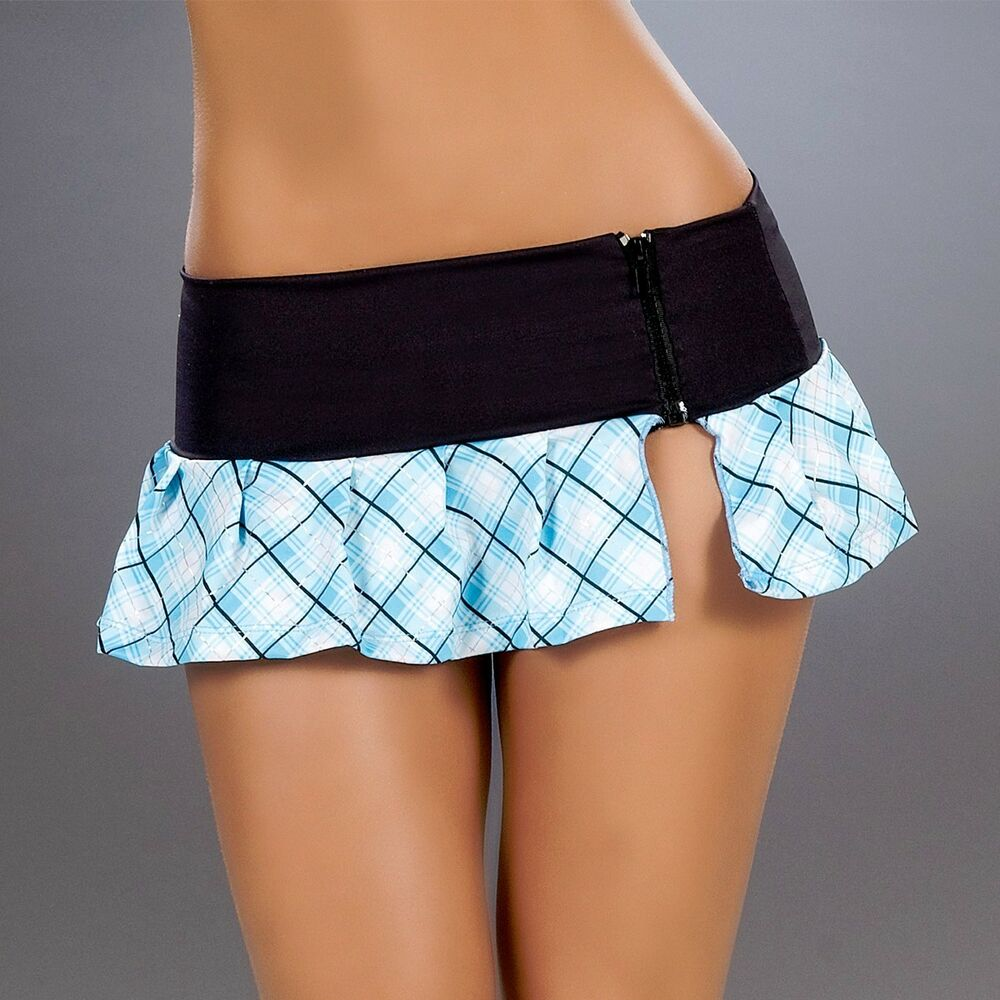 New 5001 Blue Plaid BLACK PLEATED DANCE ROLLER MICRO MINI