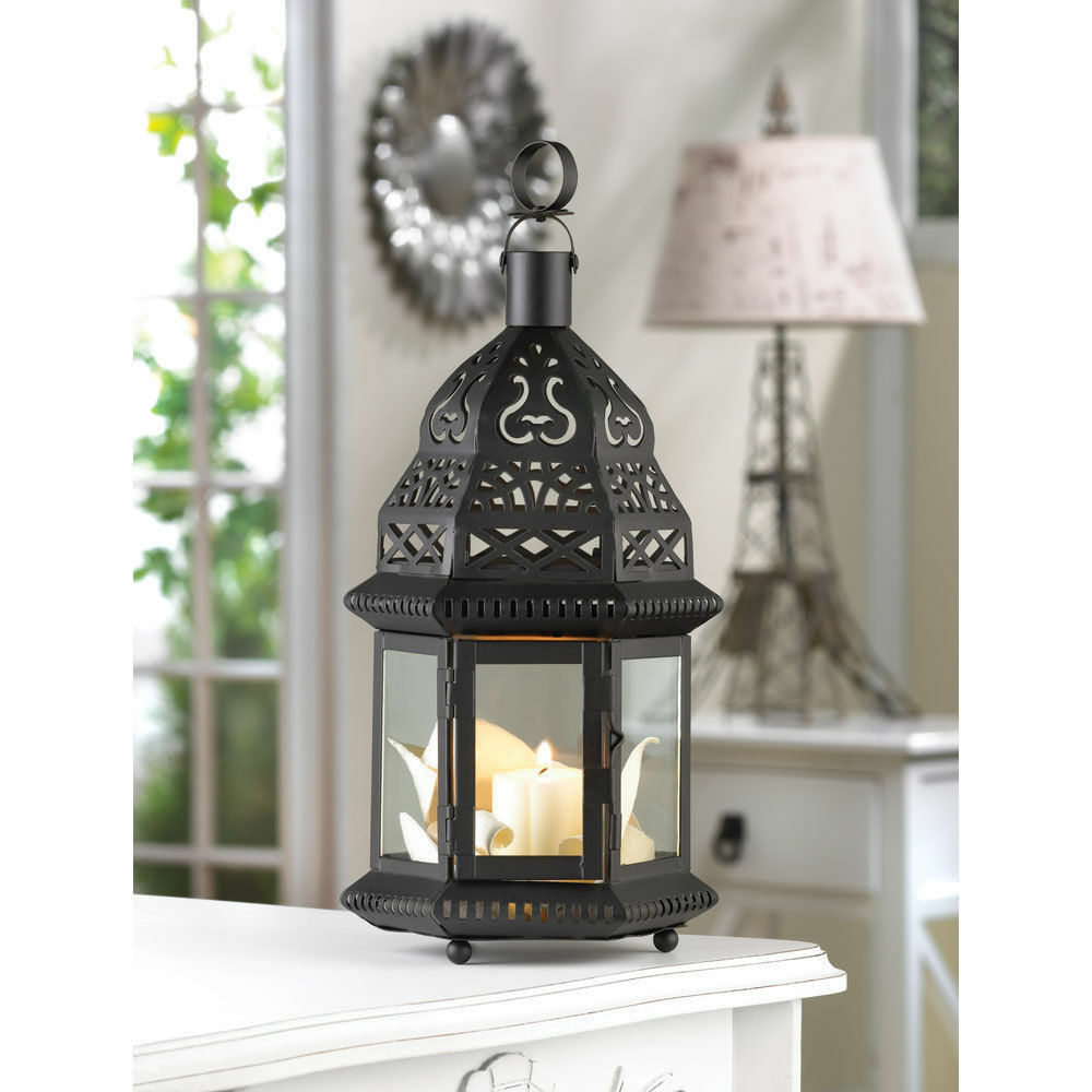 Clear glass moroccan style candle lantern wedding