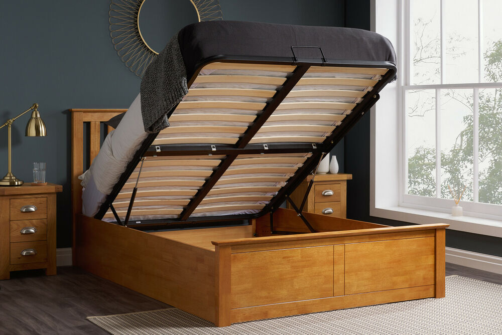 4FT6 DOUBLE SOLID WOODEN OTTOMAN STORAGE BED IN OAK