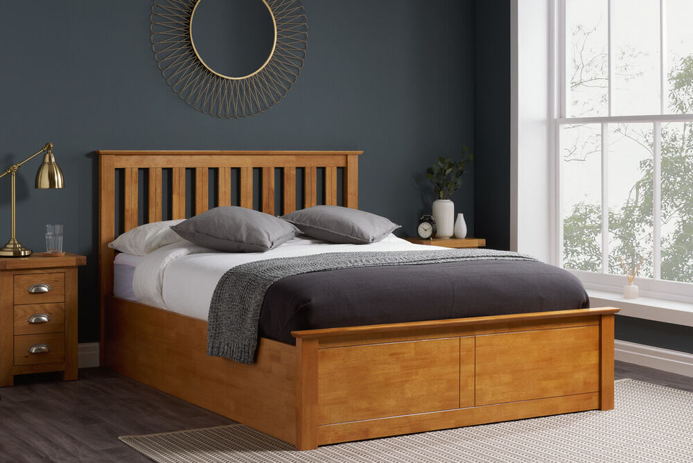 Wooden ottoman storage bed shaker 4ft6 double natural oak for Diy ottoman bed frame