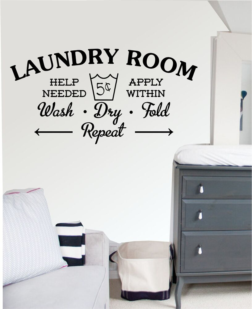 Laundry room wall art sticker decal mural kitchen for Laundry room accessories uk