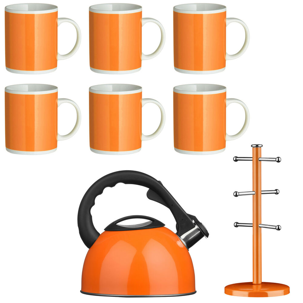 orange kitchen accessories amazing new 8 orange set kettle mugs mug tree set 1214
