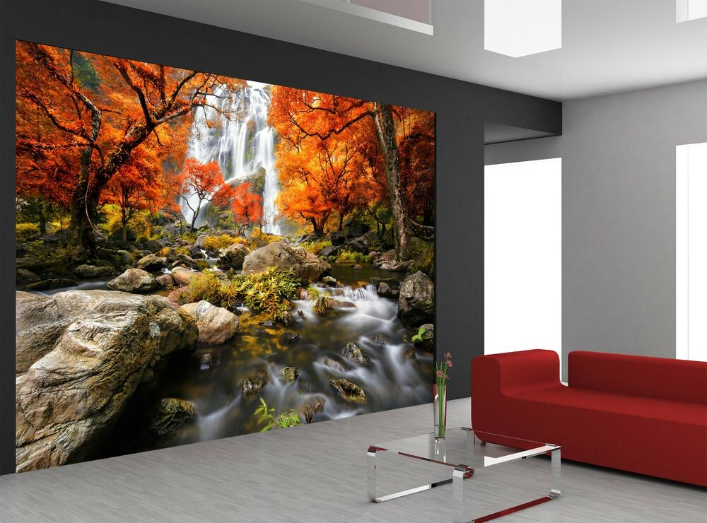 Autumn waterfall wall mural photo wallpaper giant wall for Autumn wall mural