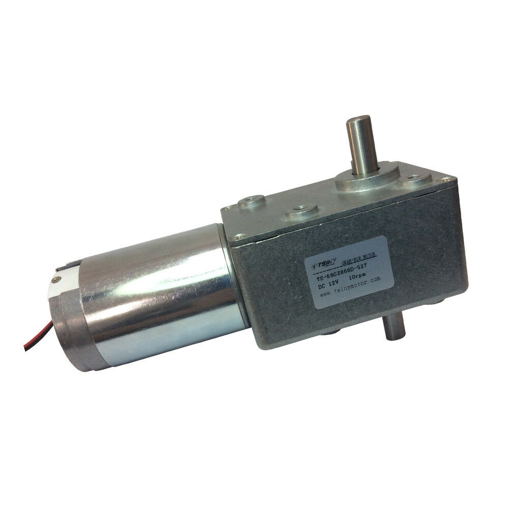 12v Dc 10rpm High Torque Dc Worm Gearmotor With Double