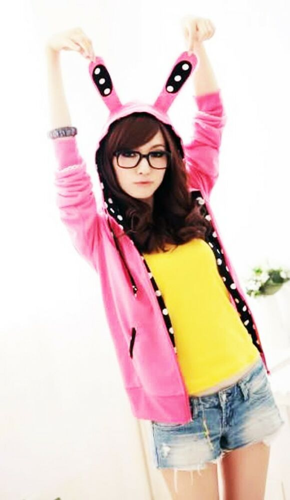 New Women Cosplay Korean Bunny Ear Cute Top Shirt Jumper