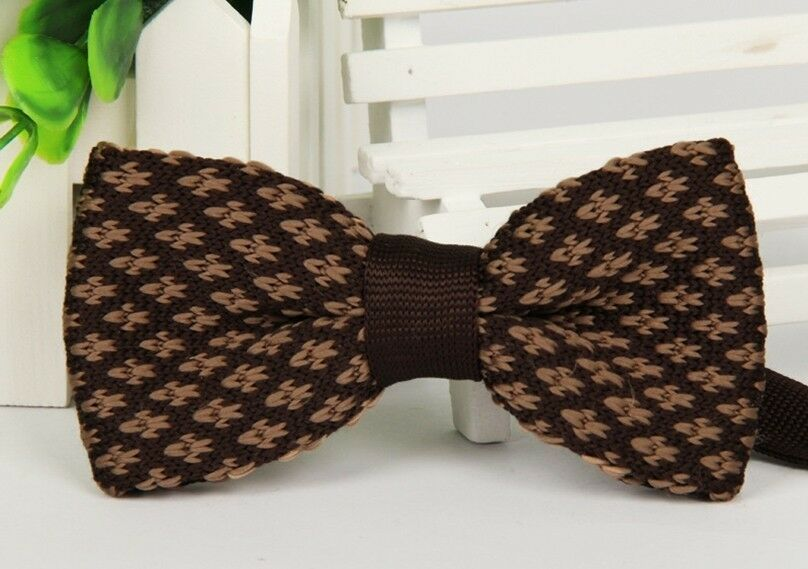 Mens Dark Brown Pattern Woven Bow Tie Knit Knitted Pre Tied Bowtie ZZBW2...