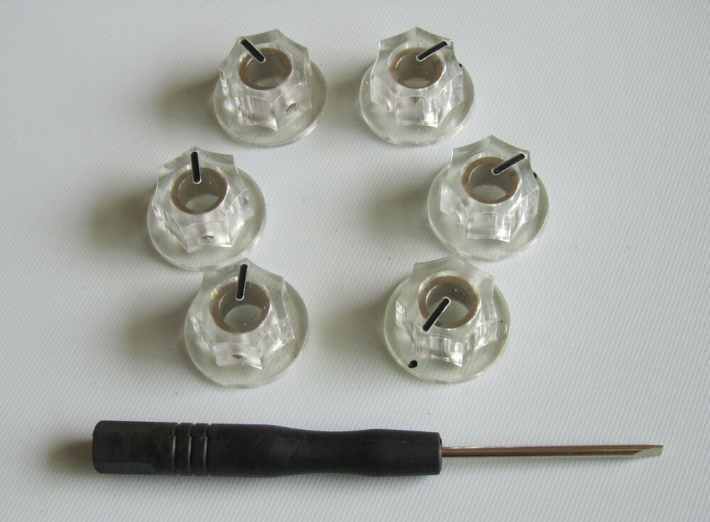 6x guitar 1 4 mini mxr style amp knobs effect pedal knob w set screw clear ebay. Black Bedroom Furniture Sets. Home Design Ideas