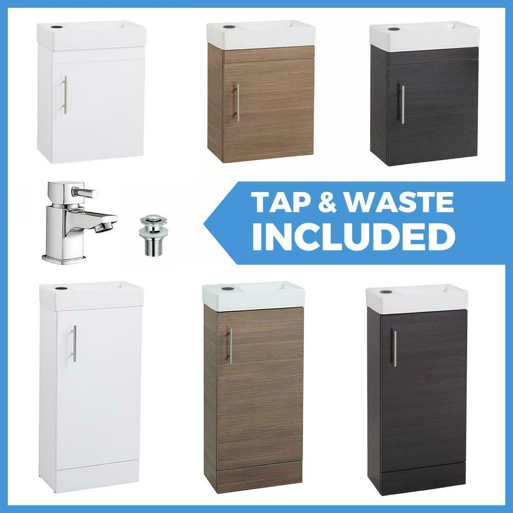 White Bathroom Vanity Unit Ceramic Basin Sink Oak Ebony Storage Cabinet En Suite Ebay