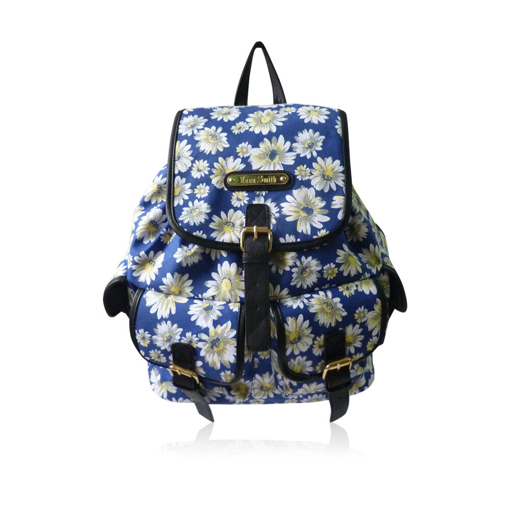 Roxy bags for school - Anna Smith By Lydc Ladies Girls Flower Floral Daisy Print Backpack