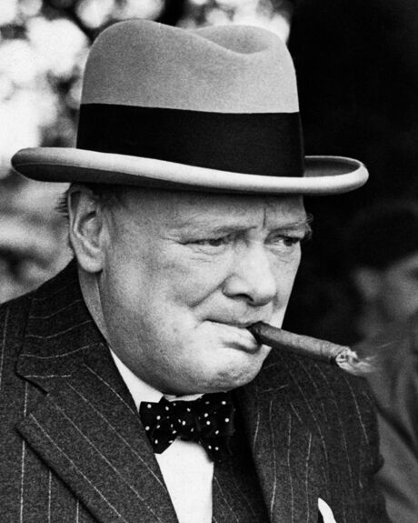 Winston Churchill Victory Quote: Winston Churchill Awesome Cigar BW 10x8 Photo