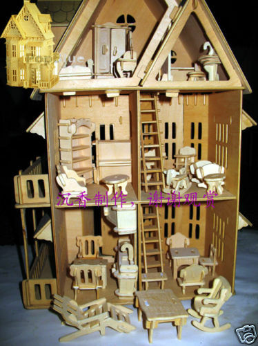 """wooden dollhouse 21""""doll wood house 6 rooms & furniture 