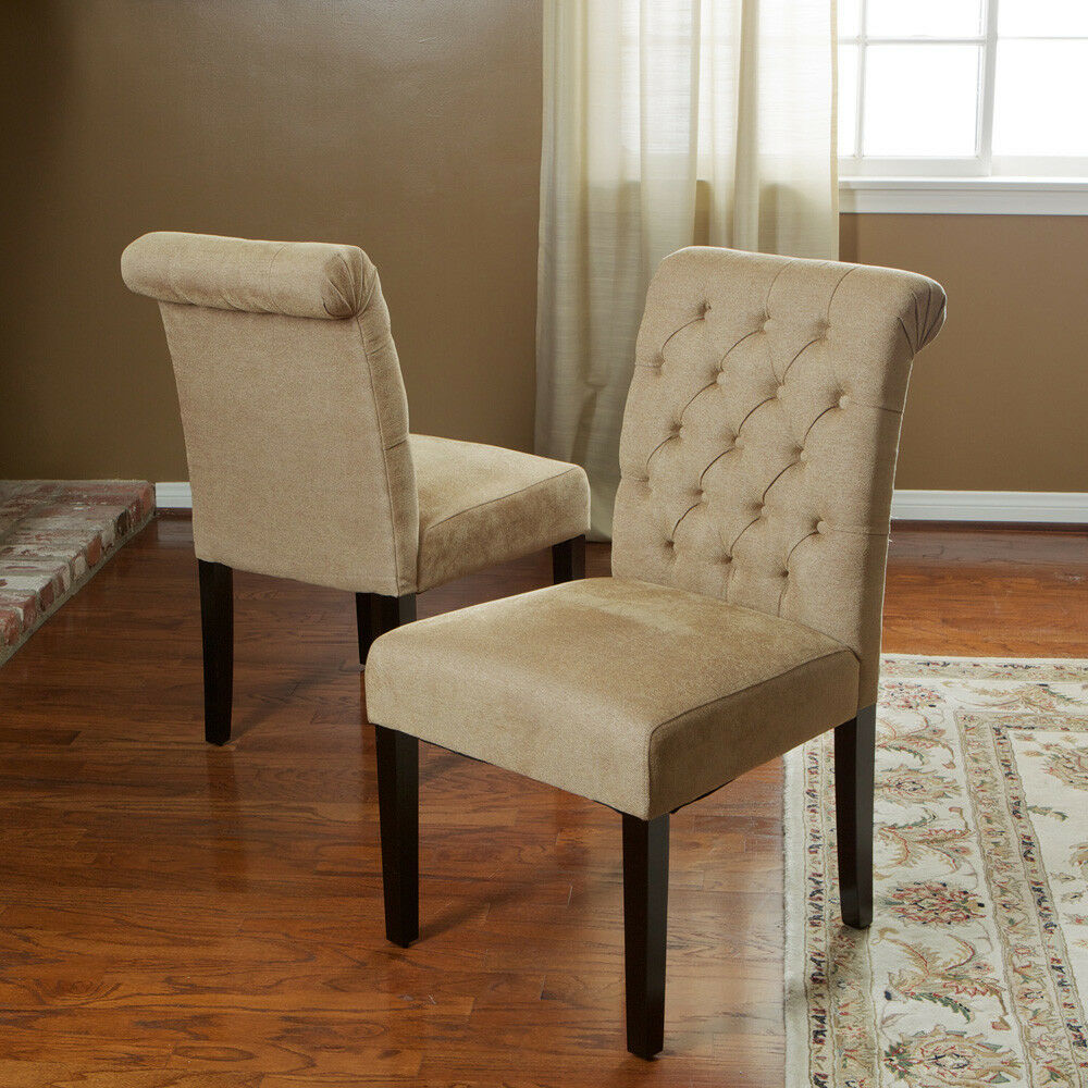 Tufted Dining Bench With Back: Set Of 8 Roll Back Tufted Dining Chairs Chairs W/ Button