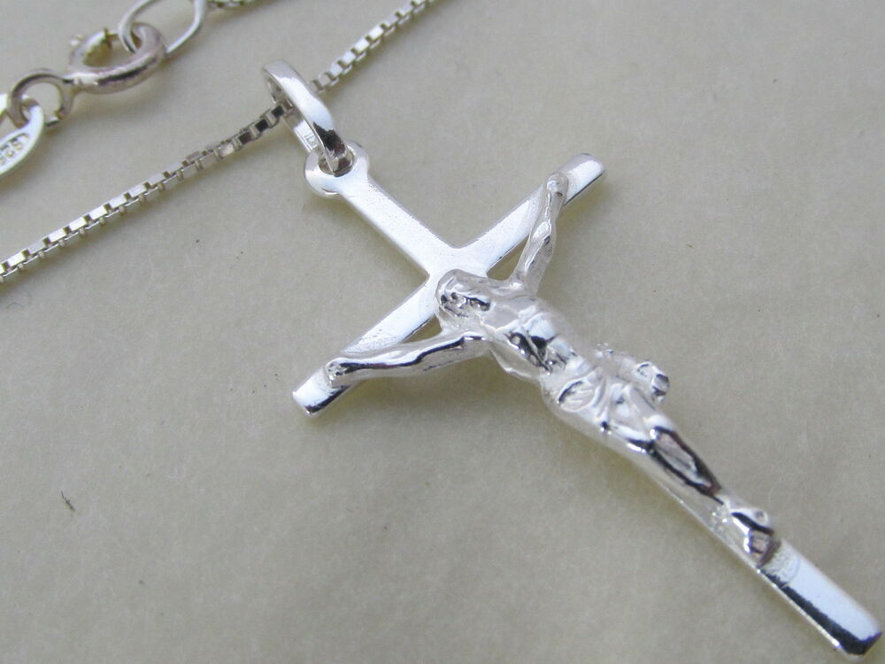 genuine 925 sterling silver crucifix cross pendant. Black Bedroom Furniture Sets. Home Design Ideas