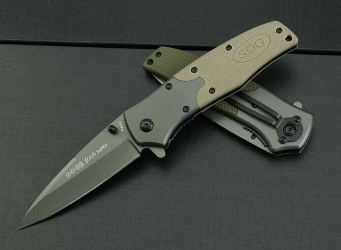 itm SOG Folding Assisted Opening Pocket Knife embossed Saber Hunting Rescue NEW Gift