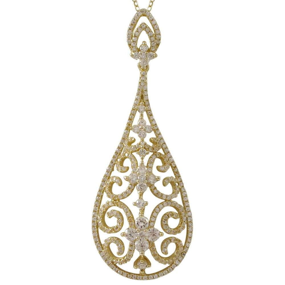gold plated sterling silver cz filigree teardrop womens