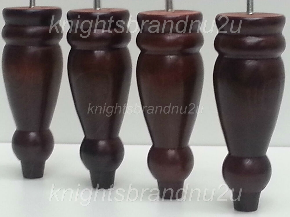 4x Turned Wooden Feet Mahogany Furniture Legs 200mm For