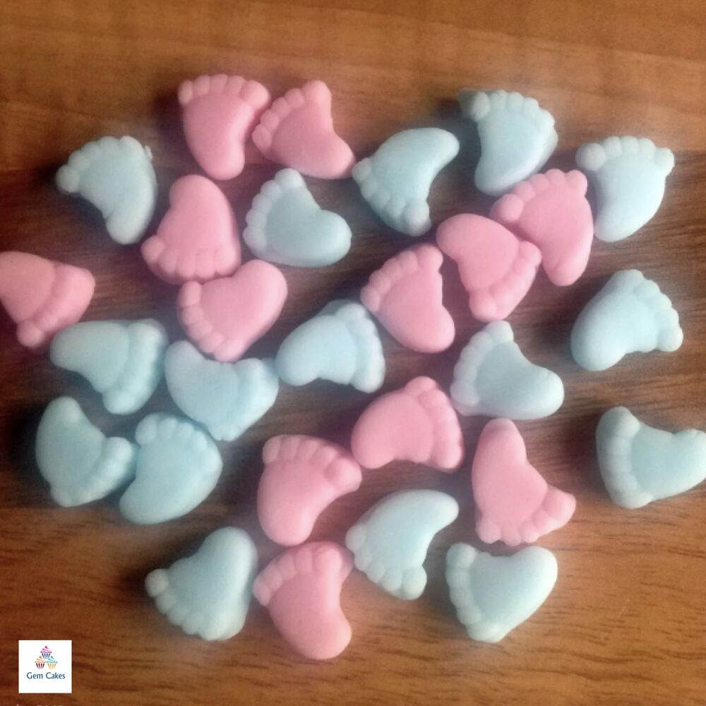 30 edible pink blue baby feet girl boy shower cake cupcake toppers decorations ebay. Black Bedroom Furniture Sets. Home Design Ideas