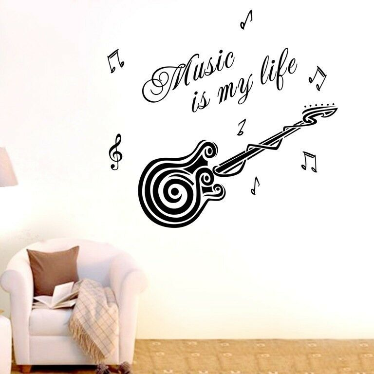 Music is my life Wall Quotes decals Removable stickers