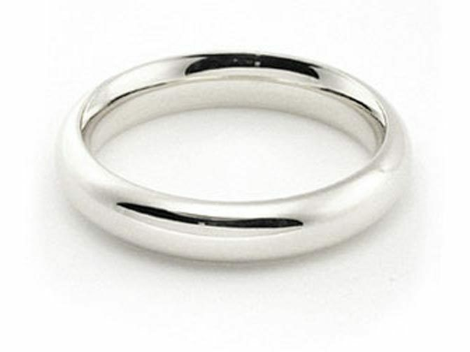 4mm 14K WHITE GOLD ROUND PLAIN SHINY COMFORT FIT WEDDING BAND RING