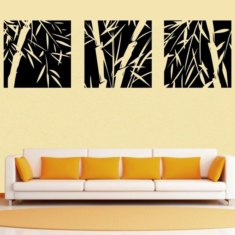 3 Pcs Large Bamboo Wall Stickers Removable Art Vinyl Decal