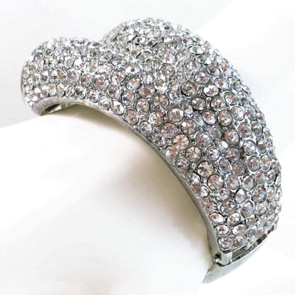 usa bracelet silver rhinestone cuff bridal wedding