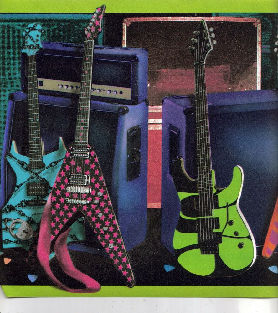 Neon colors on black background electric guitar wallpaper - Guitar border wallpaper ...