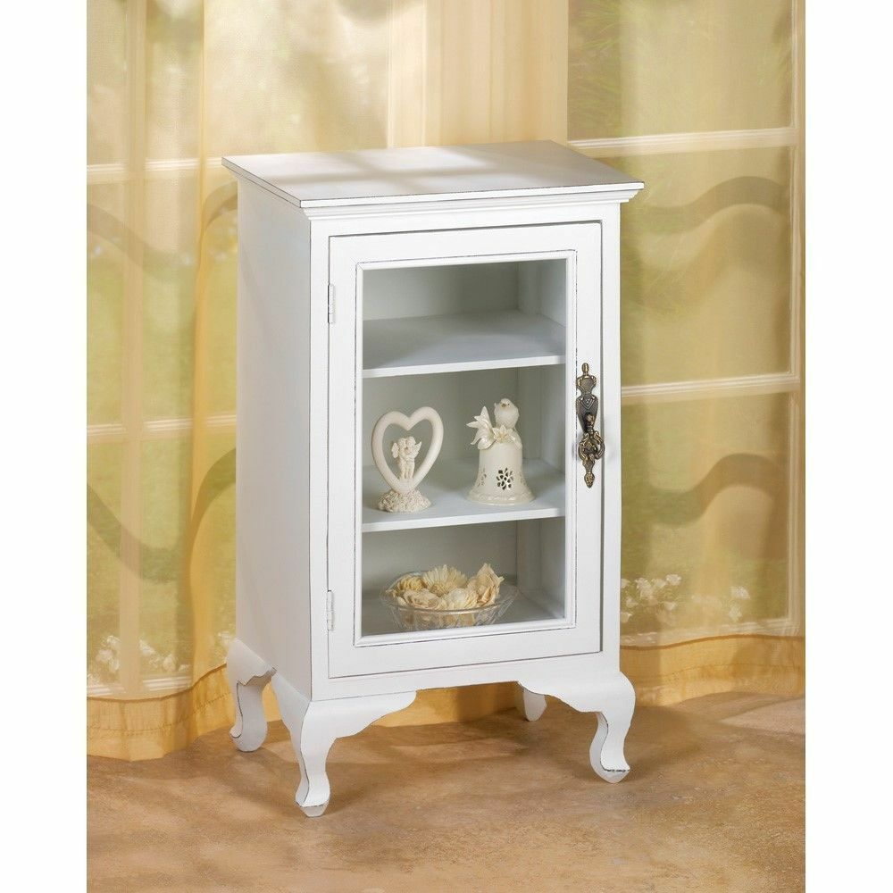 White Storage Cabinet ~ Simply white shelf storage cabinet glass door chic