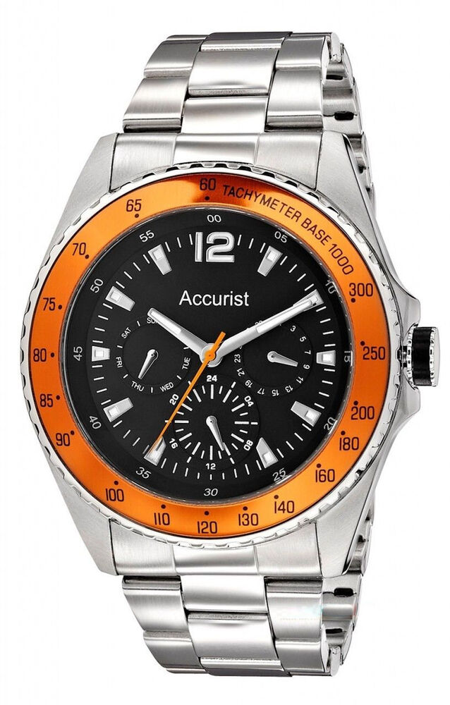 Accurist black dial orange bezel stainless steel bracelet mens watch mb9450b ebay for Men decagonal bezel bracelet