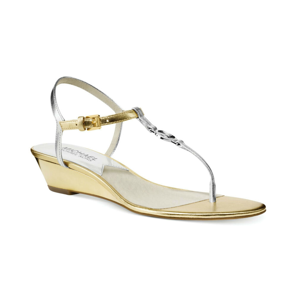 MICHAEL KORS NORA WEDGE SILVER GOLD MK LOGO OPEN TOE T