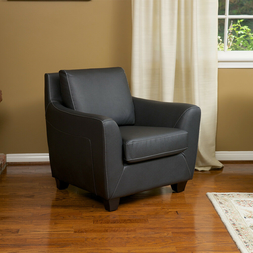 living room furniture black leather arm club chair ebay