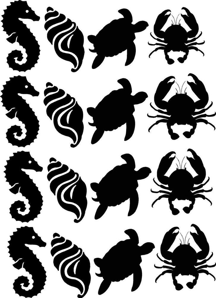 Seahorse Shell Turtle Crab Silhouette Vinyl Wall Decals