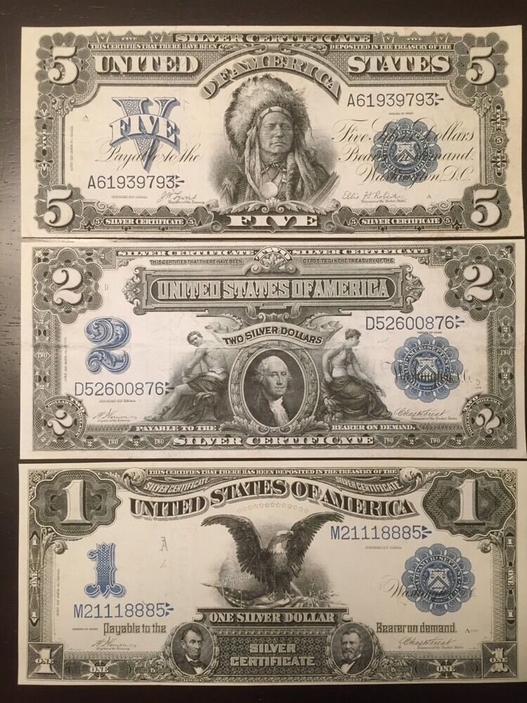 Reproduction Copies 1899 Silver Certificates 1 2 Two Silver 5