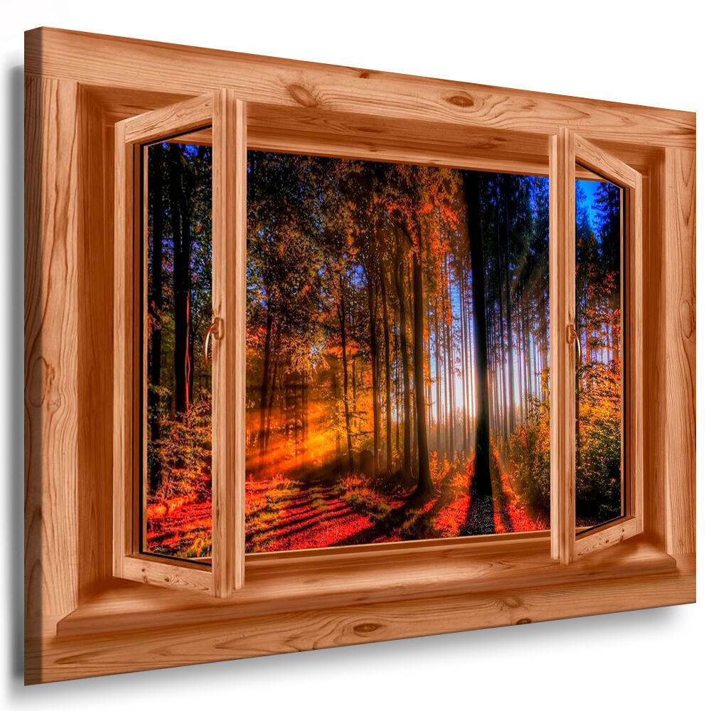 leinwand bild fenster n30 bilder herbst sonnenuntergang wald kunstdrucke poster ebay. Black Bedroom Furniture Sets. Home Design Ideas